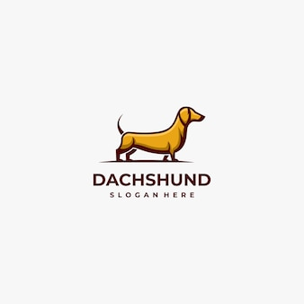 Logo illustration chien mascotte cartoon style.