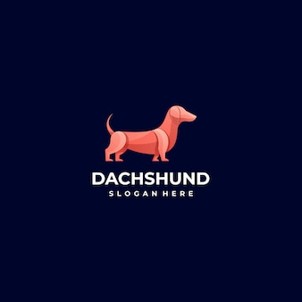 Logo illustration chien pose gradient style coloré.