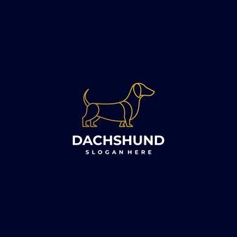 Logo illustration chien style art ligne.