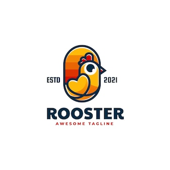 Logo illustration coq dans style mascotte simple