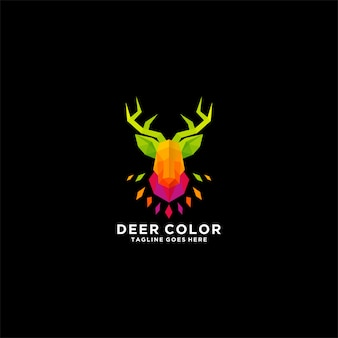 Logo d'illustration couleur tête de cerf.