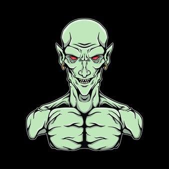 Logo d'illustration de demi-corps d'elfe noir
