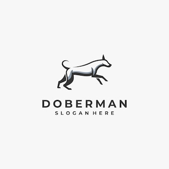 Logo illustration doberman dog mascot cartoon style.
