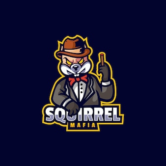 Logo illustration écureuil mafia e sport et style sport