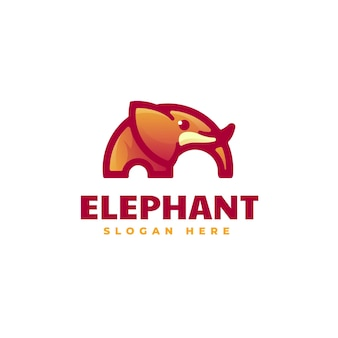 Logo illustration éléphant dégradé style coloré