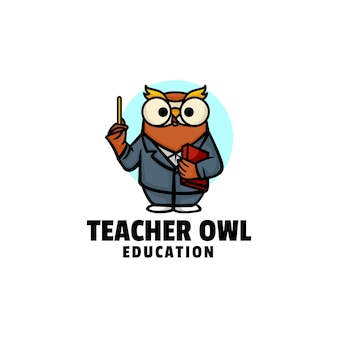 Logo illustration enseignant hibou mascotte dans style dessin animé