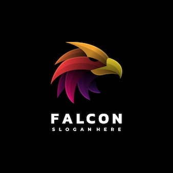 Logo illustration falcon gradient style coloré.