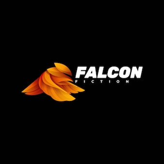 Logo illustration falcon gradient style coloré.