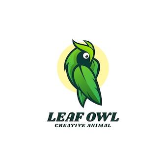 Logo illustration feuille hibou style coloré dégradé