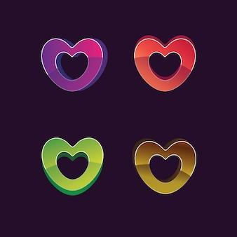 Logo d'illustration de forme d'amour