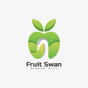 Logo illustration fruit swan gradient style coloré.