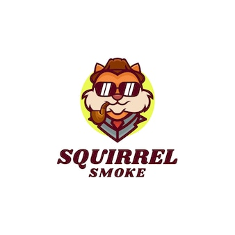 Logo illustration fumer écureuil mascotte dans style dessin animé