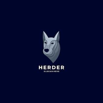 Logo illustration herder head style coloré.