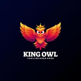 Logo illustration king owl gradient style coloré.