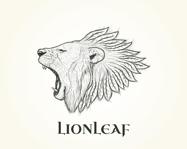 Logo d'illustration de lion avec la crinière de feuille