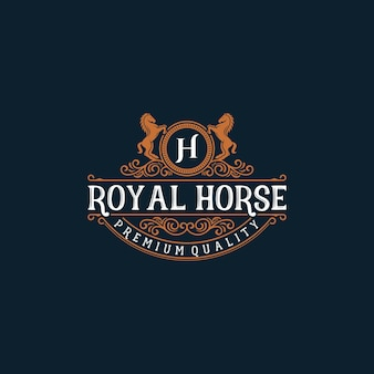 Logo d'illustration de marque cheval vintage