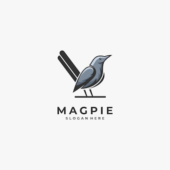 Logo illustration mascotte oiseau pie