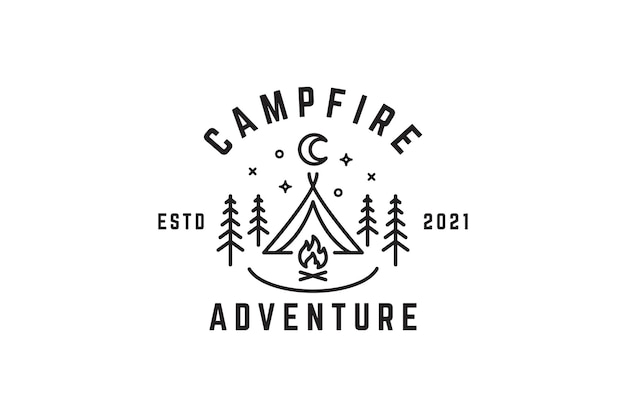 Logo d'illustration de nuit de feu de camp