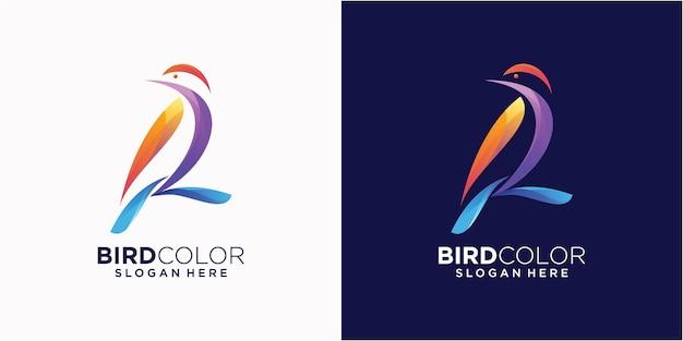 Logo illustration oiseau coloré