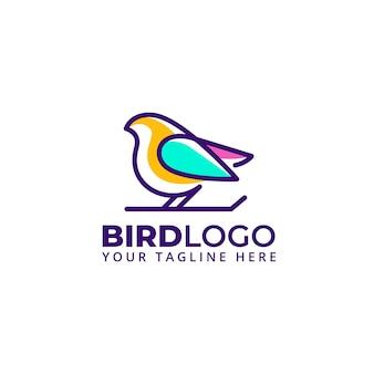 Logo d'illustration d'oiseau de forme de ligne abstraite