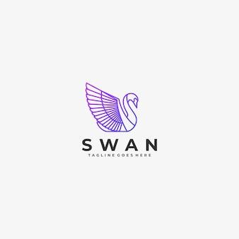 Logo illustration oiseau gradient line art