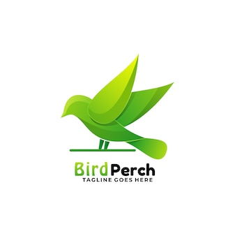 Logo illustration oiseau perche gradient style coloré.