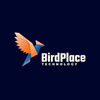 Logo illustration oiseau place gradient style coloré.