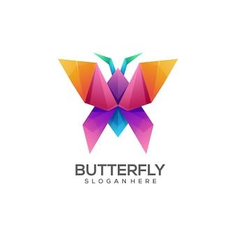 Logo illustration papillon origami dégradé coloré