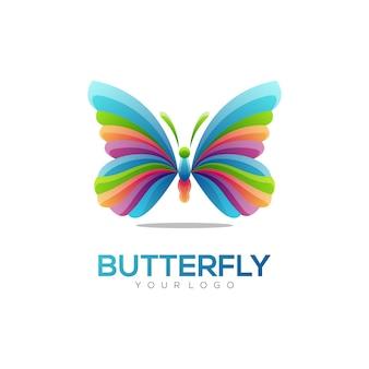 Logo illustration papillon style coloré dégradé