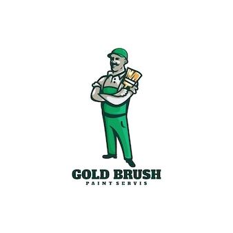 Logo illustration peintre dans style mascotte simple