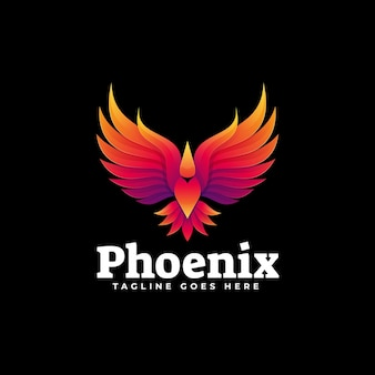 Logo illustration phoenix gradient style coloré.