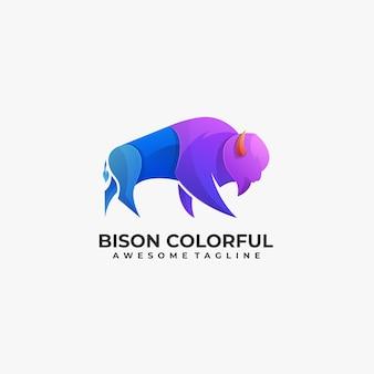 Logo d'illustration de pose colorée de bison.