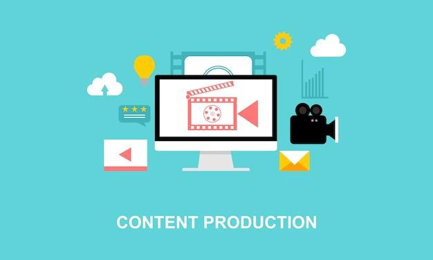 Logo d'illustration de production plat design média