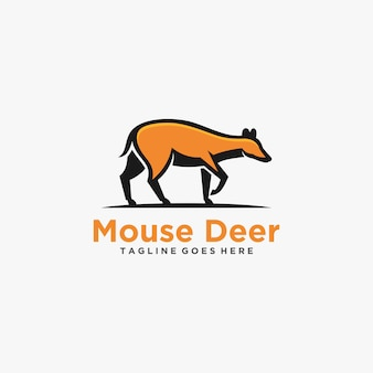 Logo illustration souris cerf marcher mascotte cartoon style