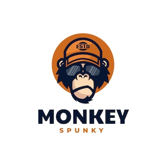 Logo illustration spunky singe mascotte dans style dessin animé