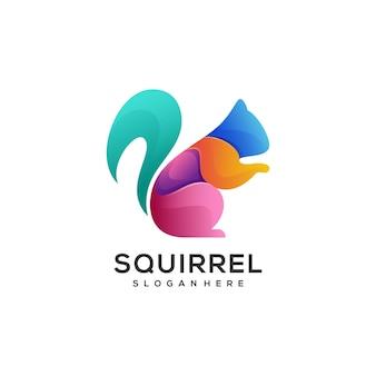 Logo illustration style coloré dégradé écureuil