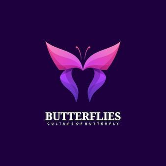 Logo illustration style dégradé papillon coloré.