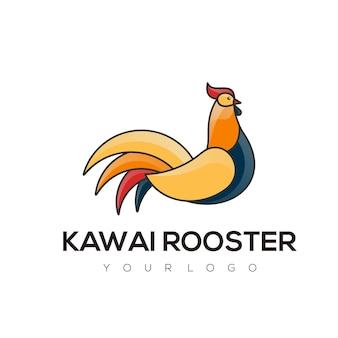 Logo illustration style mascotte simple coq