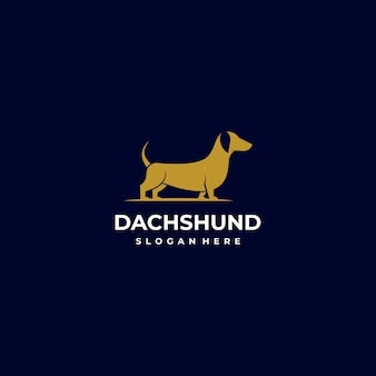 Logo illustration style silhouette chien.