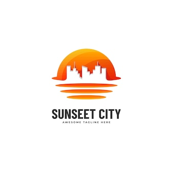Logo illustration sunset city gradient style coloré.