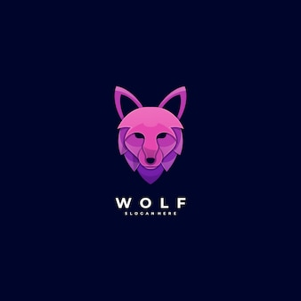 Logo illustration tête de loup dégradé style coloré.