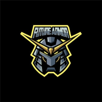 Logo illustration tête de robot e sport et style de sport.