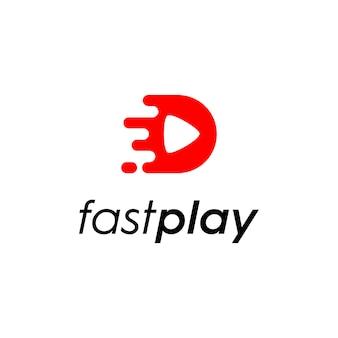 Logo illustration de la vidéo avec la vitesse, logo des médias sociaux