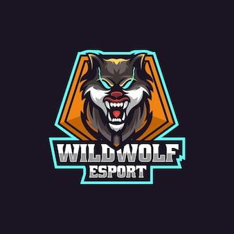 Logo illustration wild wolf e sport et style sport