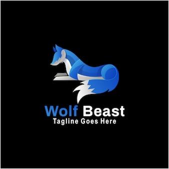 Logo illustration wolf beast gradient style coloré.