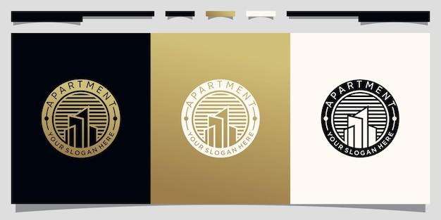 Logo d'immeuble d'appartements avec concept de cercle unique et conception de carte de visite vecteur premium