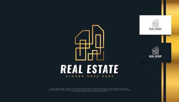 Logo immobilier abstrait or avec concept linéaire.