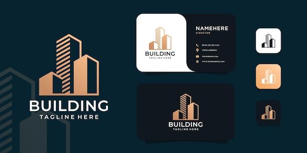 Logo de l'immobilier de bâtiment d'architecture moderne