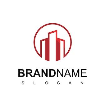 Logo immobilier bâtiment icône vecteur de conception
