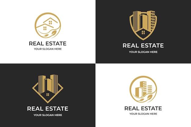 Logo de l'immobilier, combiner le logo de l'immobilier de bouclier